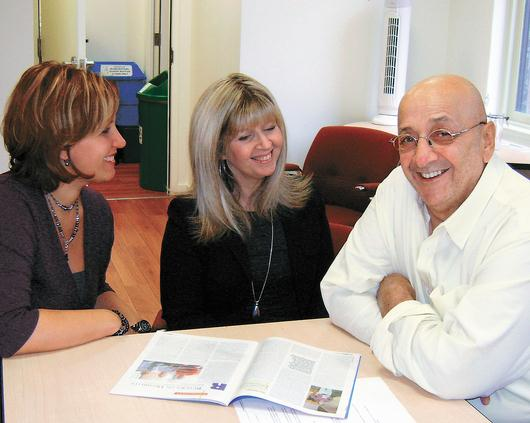 From left: Belinda Marchese, Dena Maule and Raymond Cohen talk hospice care