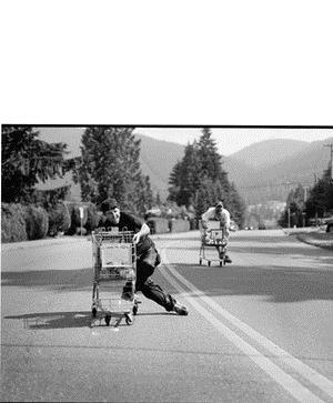 Men racing shopping carts can reach speeds up to 70 kilometeres an hour.