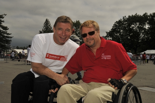 Daryl Rock (right) and Rick Hansen believe SCI research should be a worldwide priority.